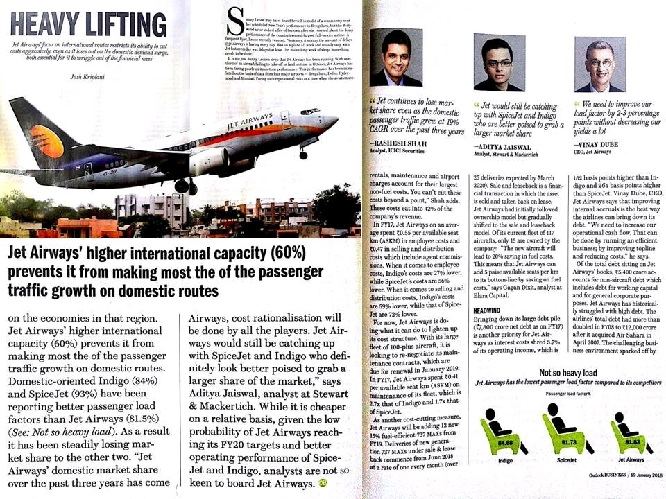 SMIFS – Review on Jet Airways on Business Outlook 19-Jan-2018